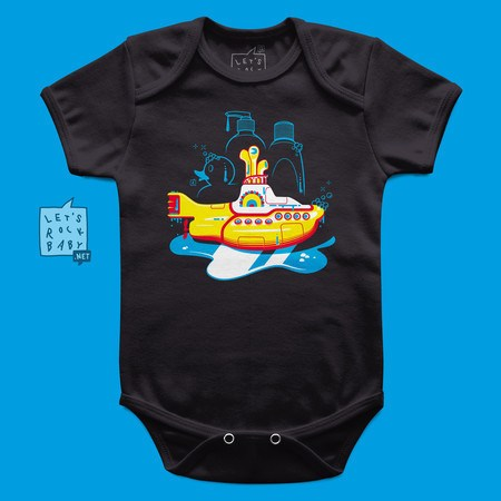 Body Infantil Let's Rock Baby Yellow Submarine Banho