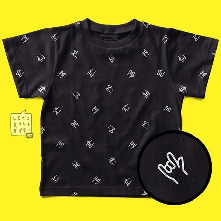 Camiseta Infantil Let's Rock Baby Estampinha Mãos Metal