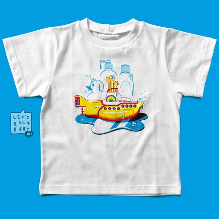 Camiseta Infantil Let's Rock Baby Yellow Submarine Banho