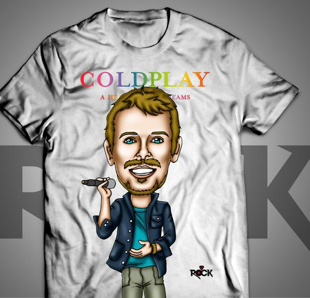 Camiseta Exclusiva Mitos do Rock Chris Martin Coldplay