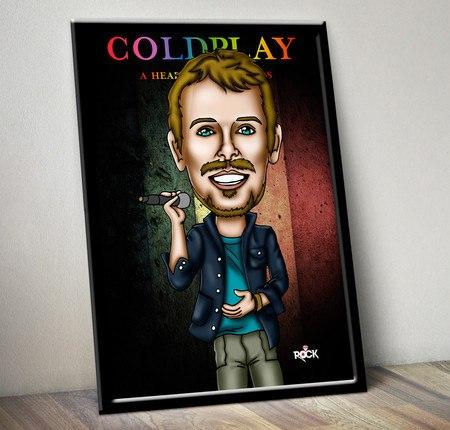 Pôster com Moldura Mitos do Rock Chris Martin Coldplay