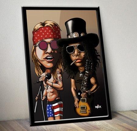 Pôster com Moldura Mitos do Rock Guns n Roses