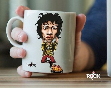 Caneca Exclusiva Mitos do Rock Jimi Hendrix
