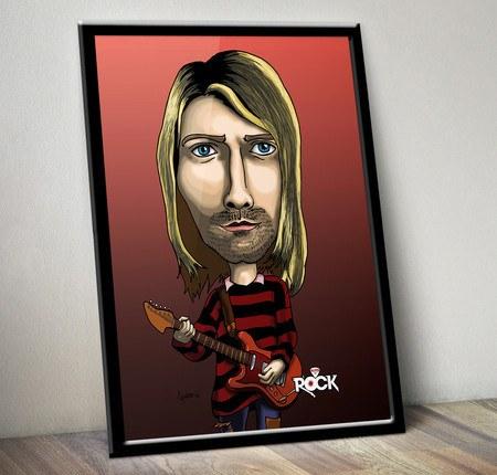 Pôster com Moldura Mitos do Rock Kurt Cobain Nirvana