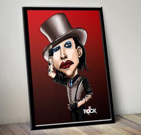 Pôster com Moldura Mitos do Rock Marilyn Manson