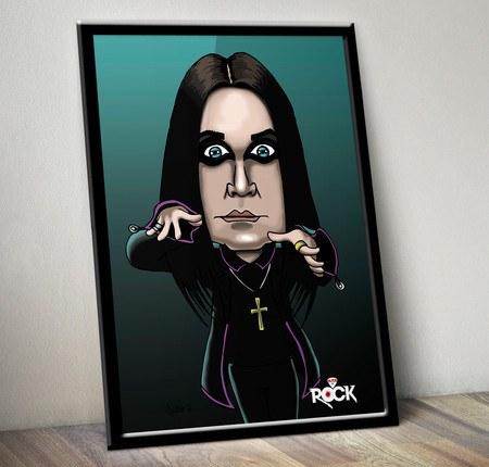 Pôster com Moldura Mitos do Rock Ozzy Osbourne