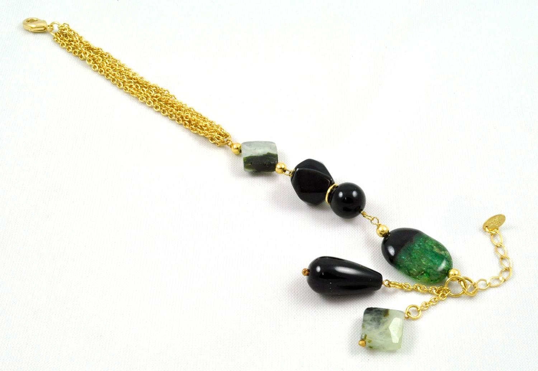Pulseira Tita Karan Banhada a Ouro 18K com Pedra Natural Quartzo Verde