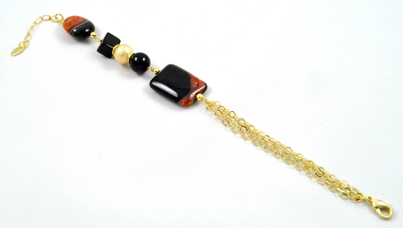 Pulseira Tita Karan Banhada a Ouro 18K com Pedra Natural Agata