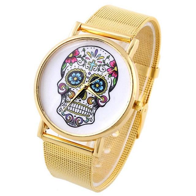 Relógio Caveira Mexicana Aço Dourado – SkullAchando