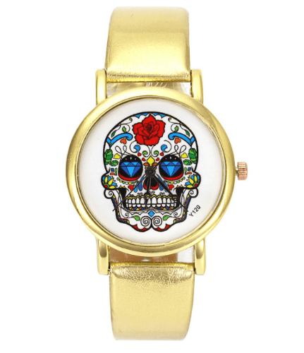 Relógio Caveira Mexicana Couro – SkullAchando