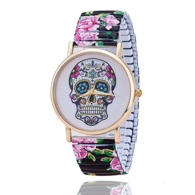 Relógio Caveira Mexicana Floral Elástico – SkullAchando
