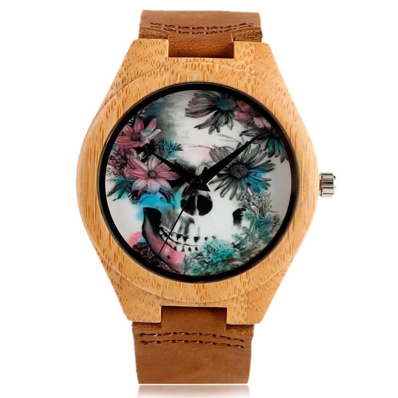 Relógio de Madeira Flowers Skull – SkullAchando