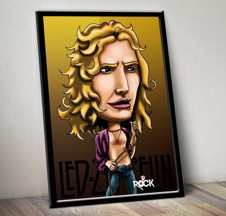 Pôster com Moldura Mitos do Rock Robert Plant