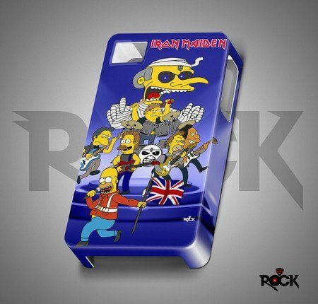 Capa de Celular Exclusiva Mitos do Rock Iron Maiden Vs Simpsons