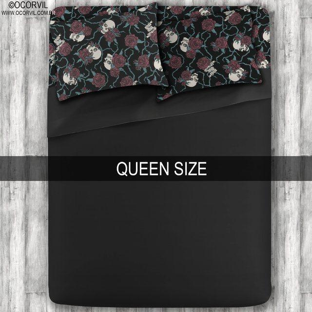 Jogo De Lençol De Caveira Rosas Vermelhas Preto Queen Size