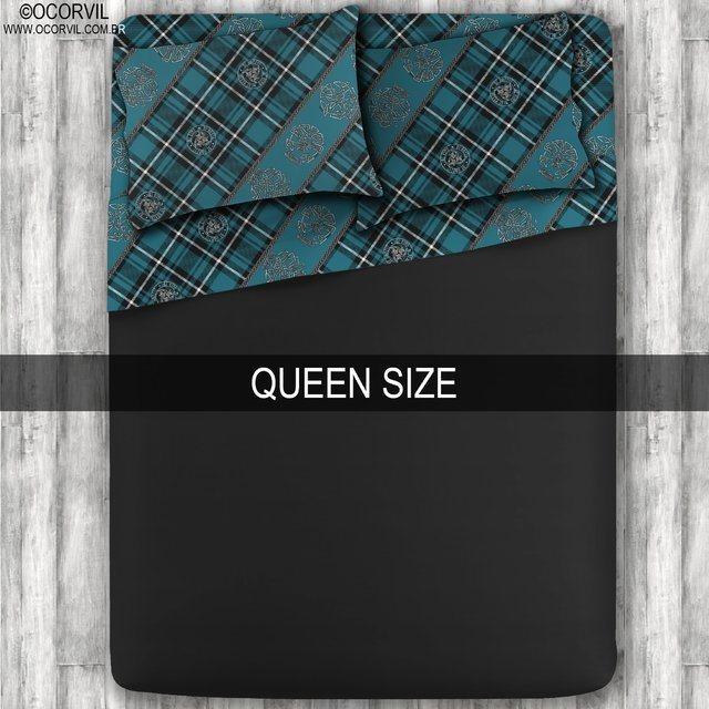 Jogo De Lençol De Caveira Xadrez Celta Azul Preto Queen Size