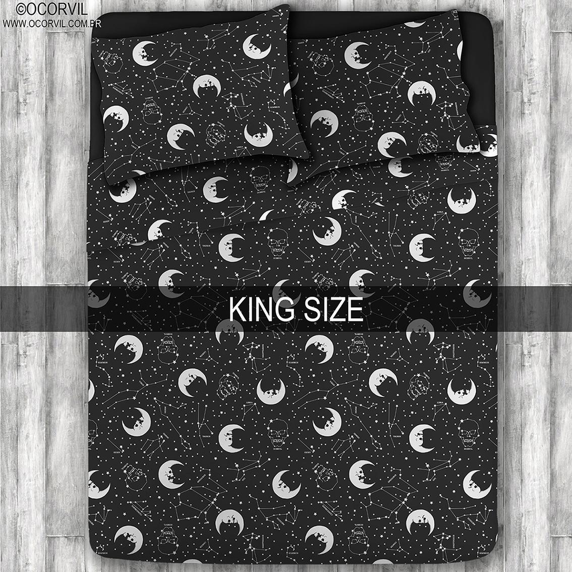 Jogo De Lençol De Lua Caveira E Estrelas King