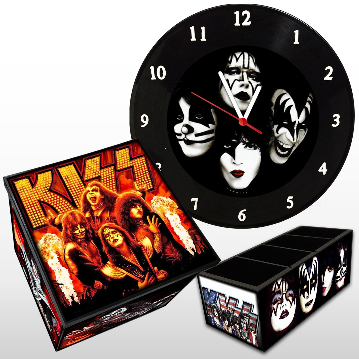 Kiss - Kit: Relógio De Parede + Caixa Box + Porta Controle