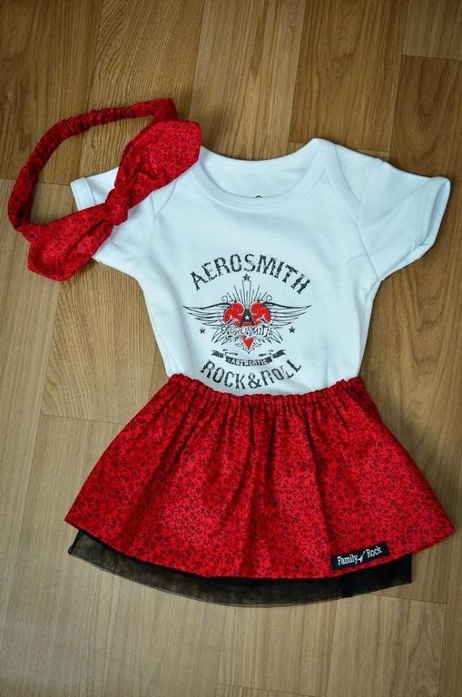 Kit AEROSMITH Menina 3 peças - body , saia e laço regulável