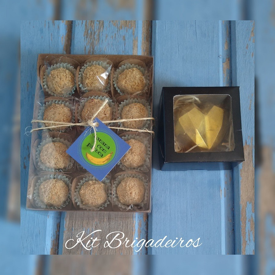 Kit de Brigadeiros e coração de chocolate recheado com paçoca