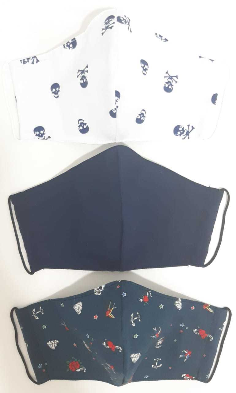 Kit Máscara de Proteção( Adulto, Juvenil e Infantil) reutilizável/ regulável 100% algodão -  3 unidades - KIT 08