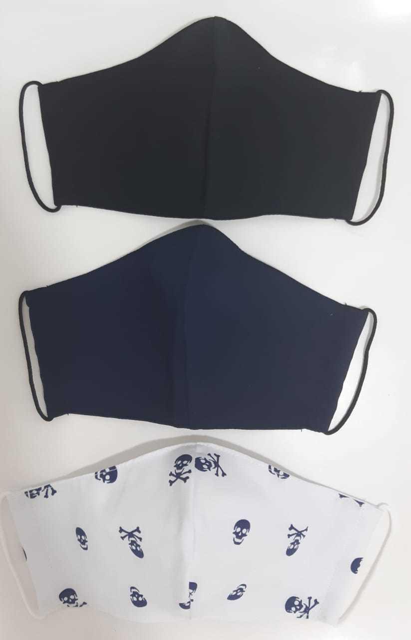 Kit Máscara de Proteção( Adulto, Juvenil e Infantil) reutilizável/ regulável 100% algodão -  3 unidades - KIT 09