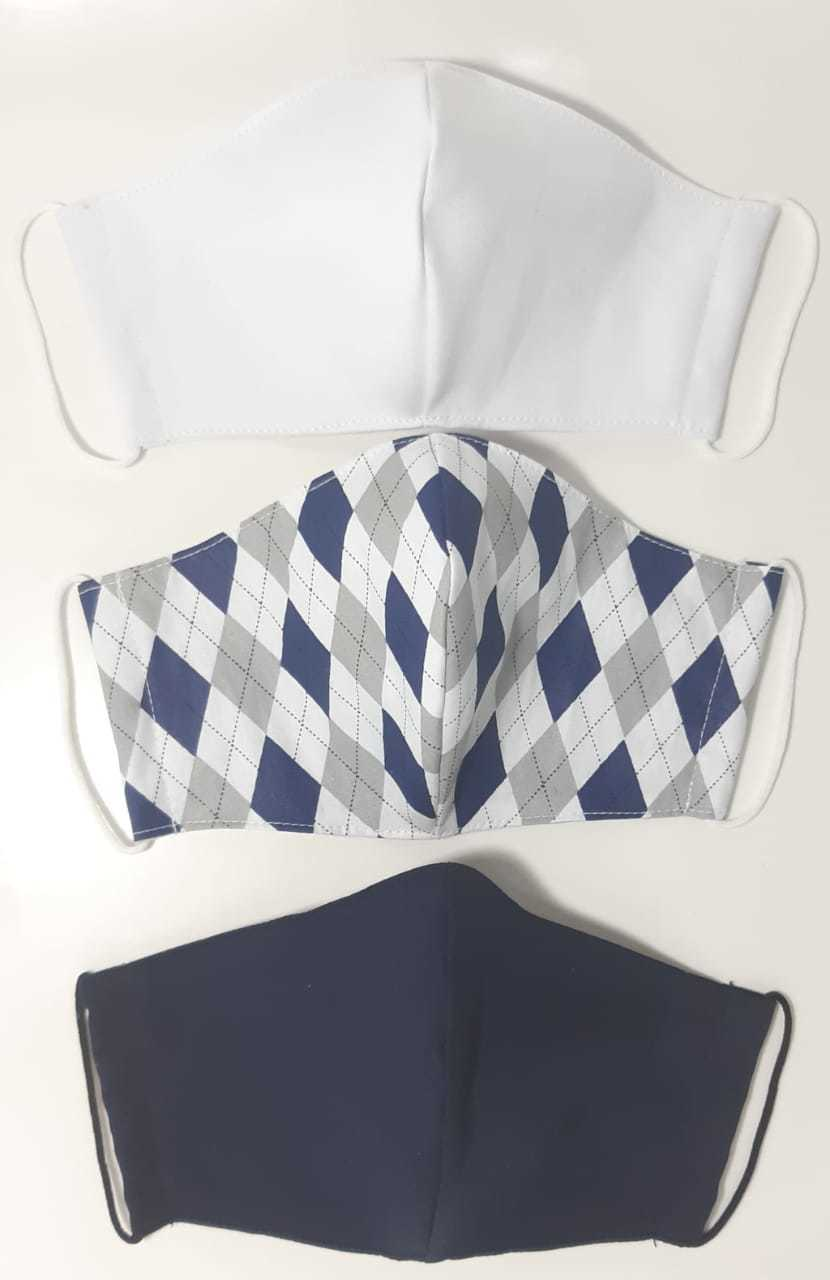 Kit Máscara de Proteção( Adulto, Juvenil e Infantil) reutilizável/ regulável 100% algodão -  3 unidades - KIT 03