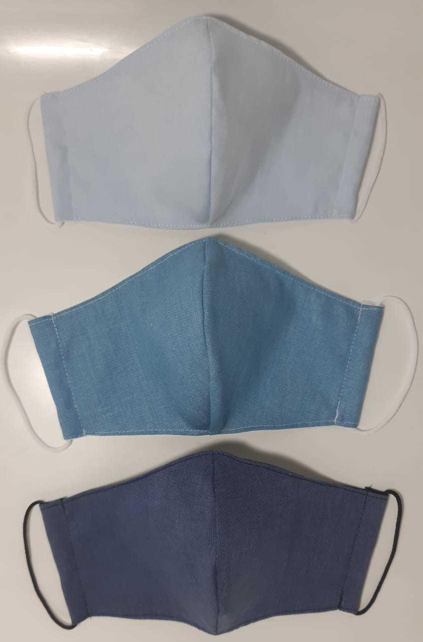 Kit Máscara de Proteção( Adulto, Juvenil e Infantil) reutilizável/ regulável 100% algodão -  3 unidades - KIT 04