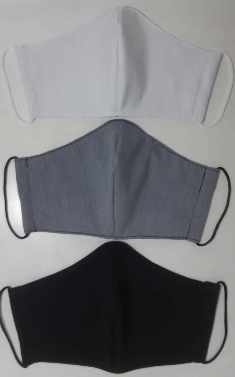 Kit Máscara de Proteção (Adulto, Juvenil e Infantil) regulável/ reutilizável 100% algodão -  3 unidades - KIT 02