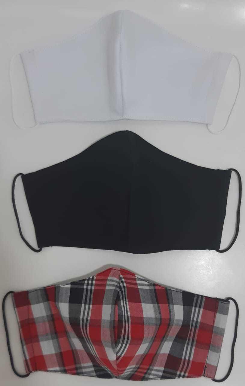 Kit Máscara de Proteção( Adulto, Juvenil e Infantil) reutilizável/ regulável 100% algodão -  3 unidades - KIT 12