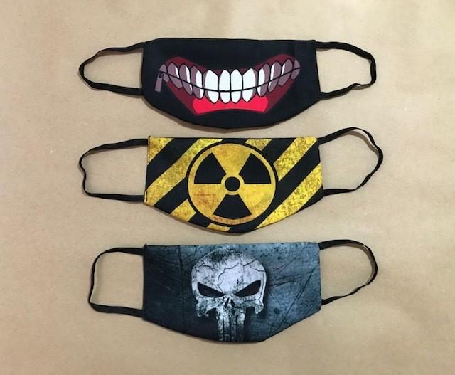 Máscara de Proteção lavável reutilizável em tecido Oxford e forro TNT com elástico - Kit com 3 unidades