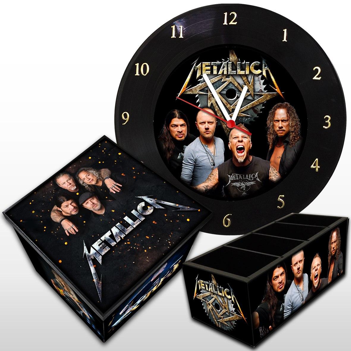 Metallica - Kit: Relógio De Parede + Caixa Box + Porta Controle
