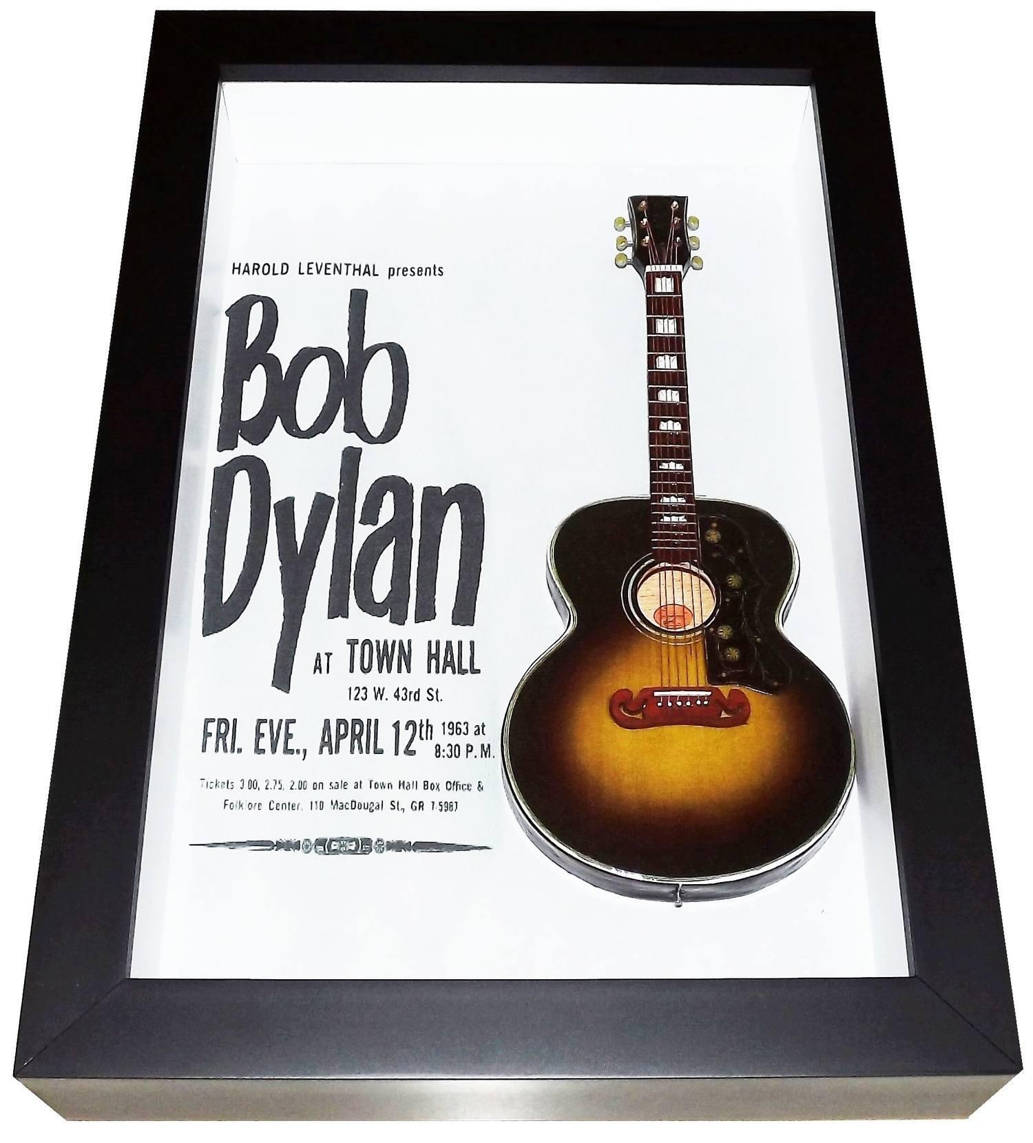 Miniatura Instrumento Musical violão Bob Dylan com quadro
