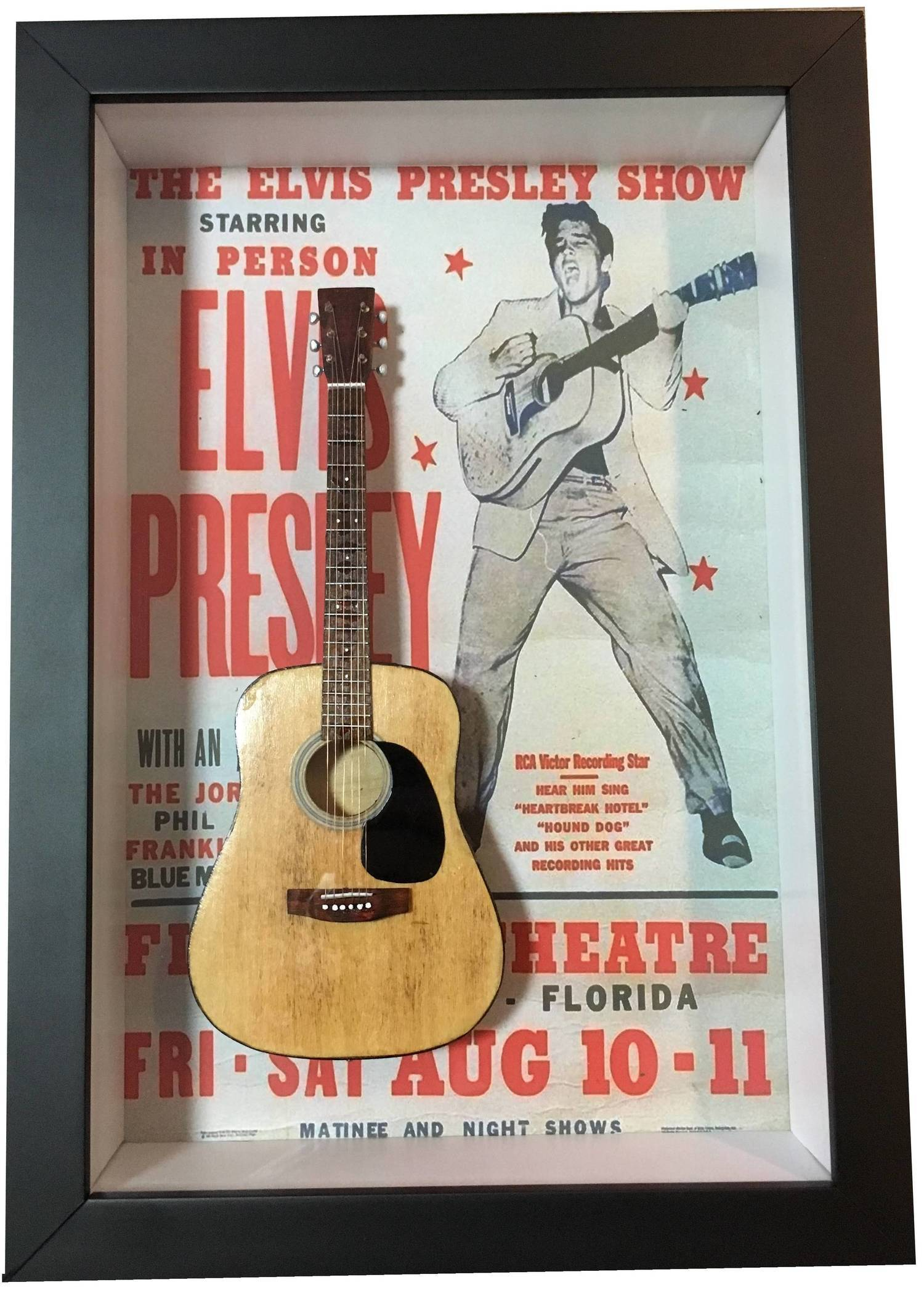 Miniatura Instrumento violão Elvis Presley com quadro