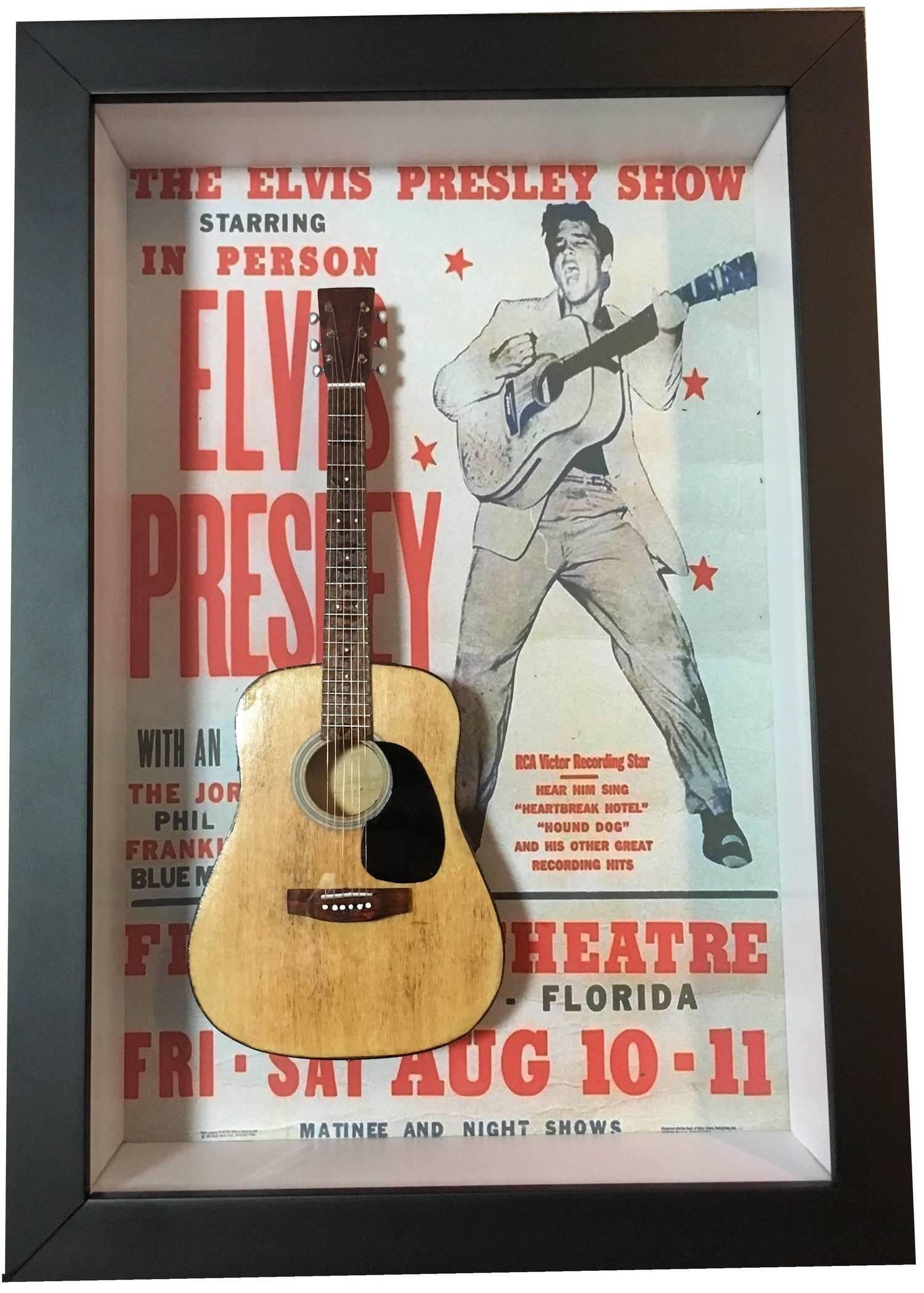 MiniLuthieria - Elvis Presley – Quadro Elvis Presley com Mini Violão