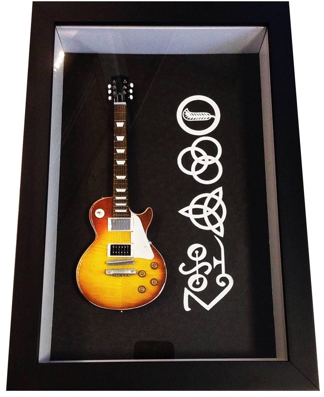 Miniatura Instrumento Musical Guitarra Led Zeppelin com quadro