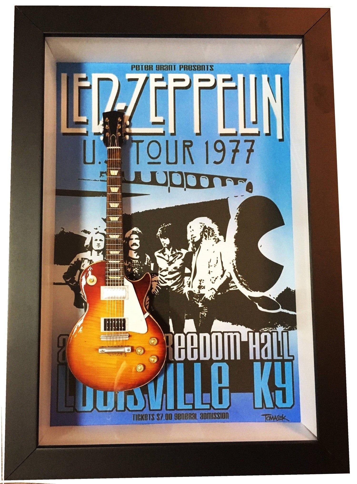 Miniatura Instrumento Musical Guitarra Led Zeppelin  Jimmy Page com quadro