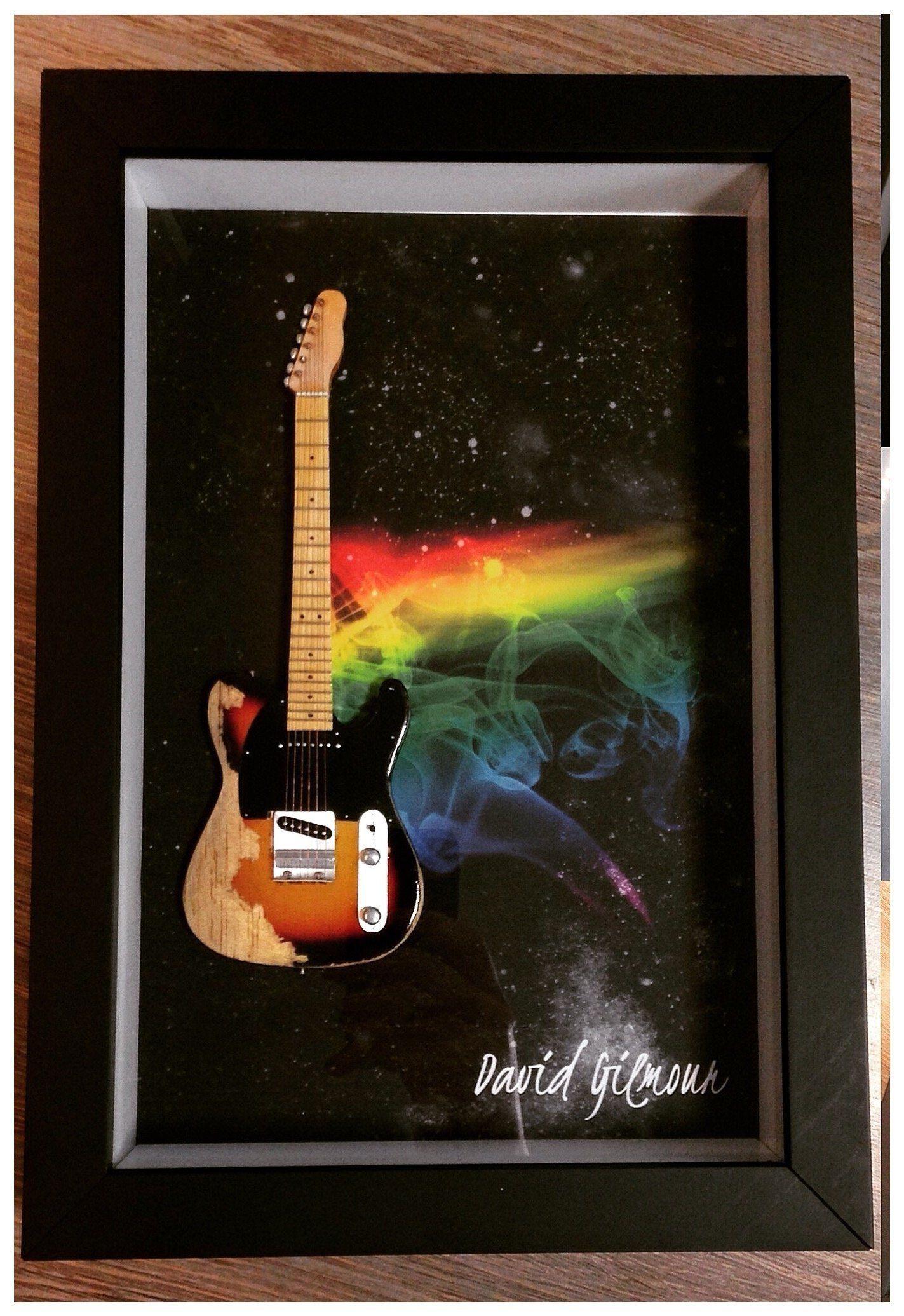 Miniatura Instrumento Musical Guitarra  Pink Floyd  David Gilmour com quadro