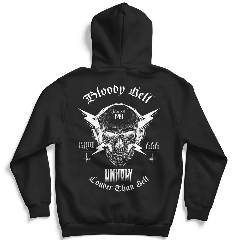Moletom Canguru com Capuz Unissex Louder Than Hell - Bloody Hell Wear