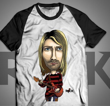 Camiseta Exclusiva Mitos do Rock Nirvana Kurt Cobain