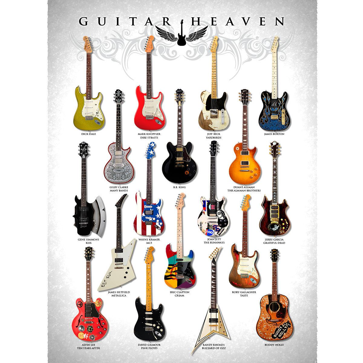 Placa Decorativa Planeta Decor Guitar Heaven II