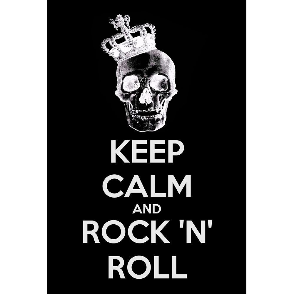 Placa Decorativa Planeta Decor Keep Calm and Rock n' Roll