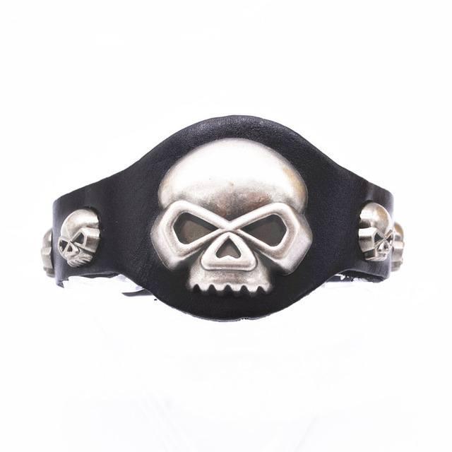 Pulseira Retrô Crânios Rock Preta – SkullAchando
