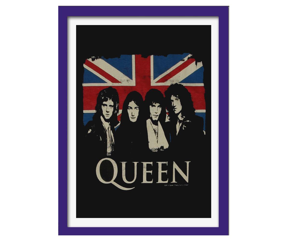 Quadro Banda Queen mdf 33x25 moldura azul