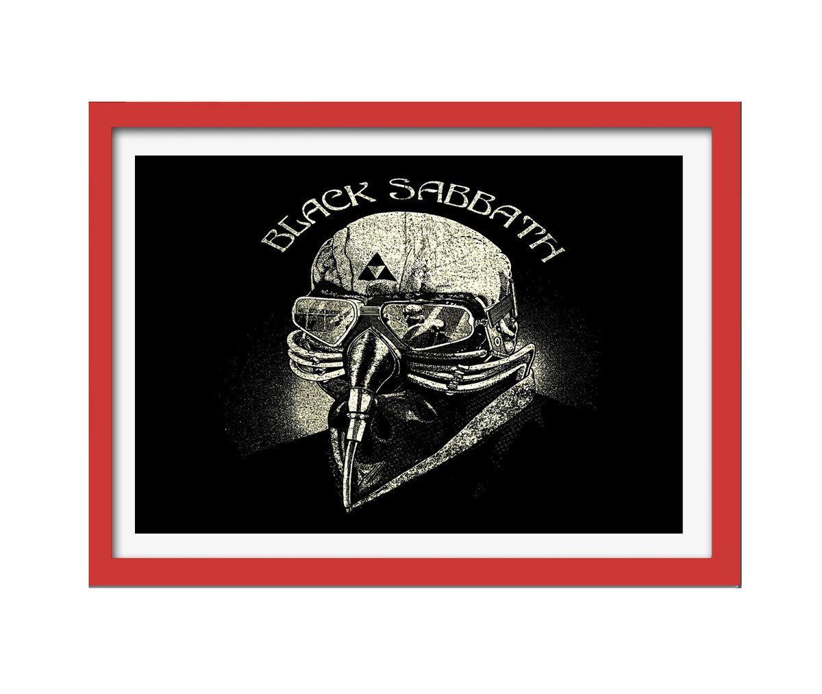 Quadro Black Sabbath mdf 33x25 moldura vermelho