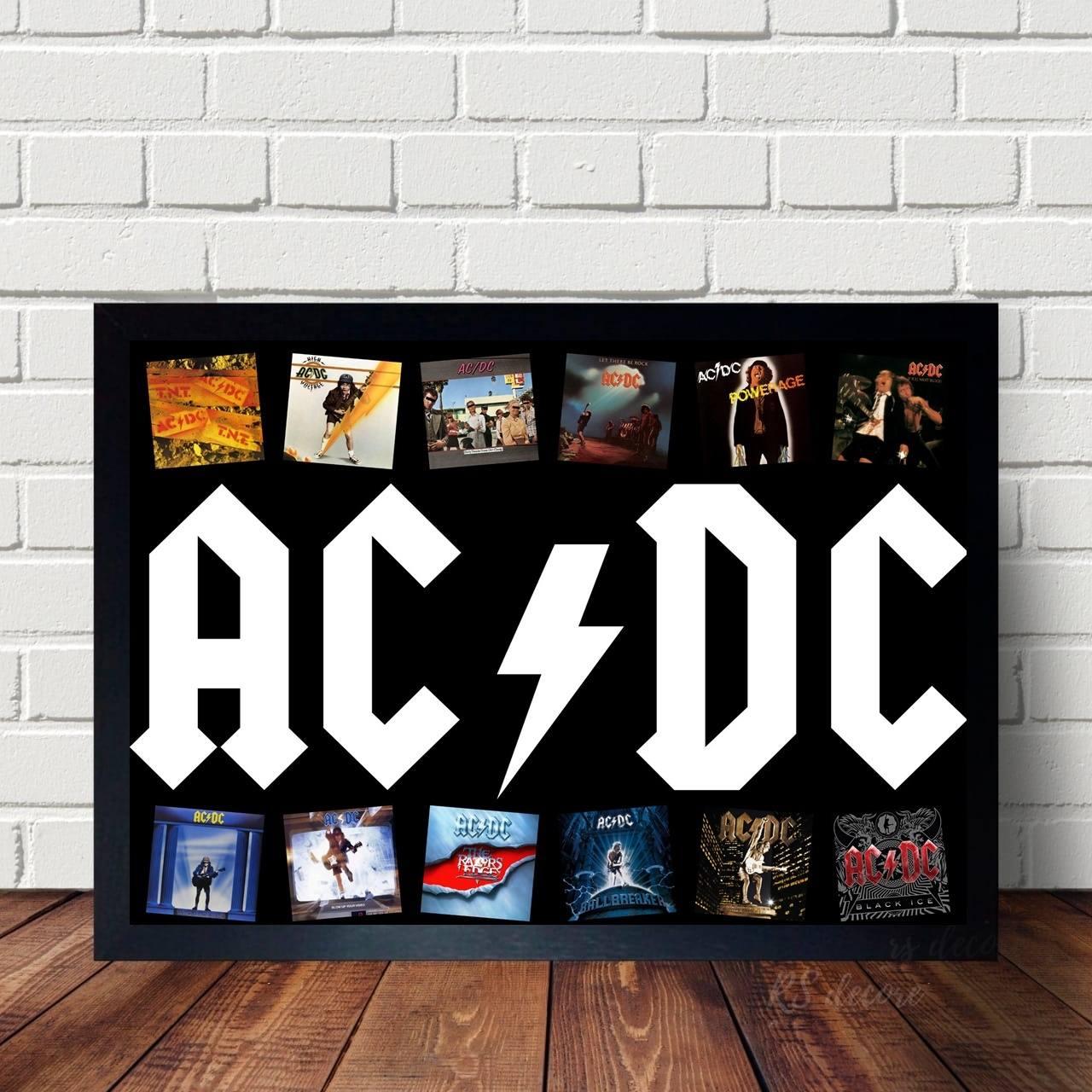 Quadro Decorativo Discos do ACDC
