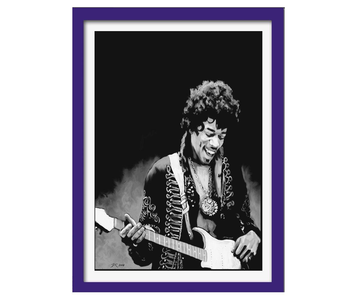 Quadro Jimi Hendrix mdf 33x25 moldura azul
