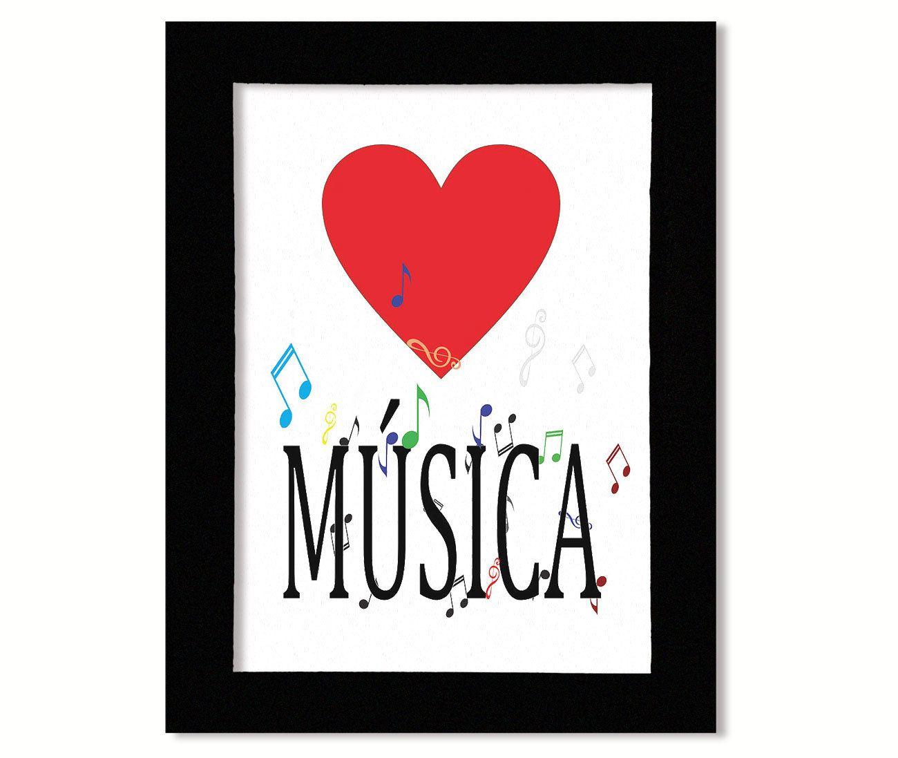 Quadro MDF Amo Música 33x25cm Moldura Preto