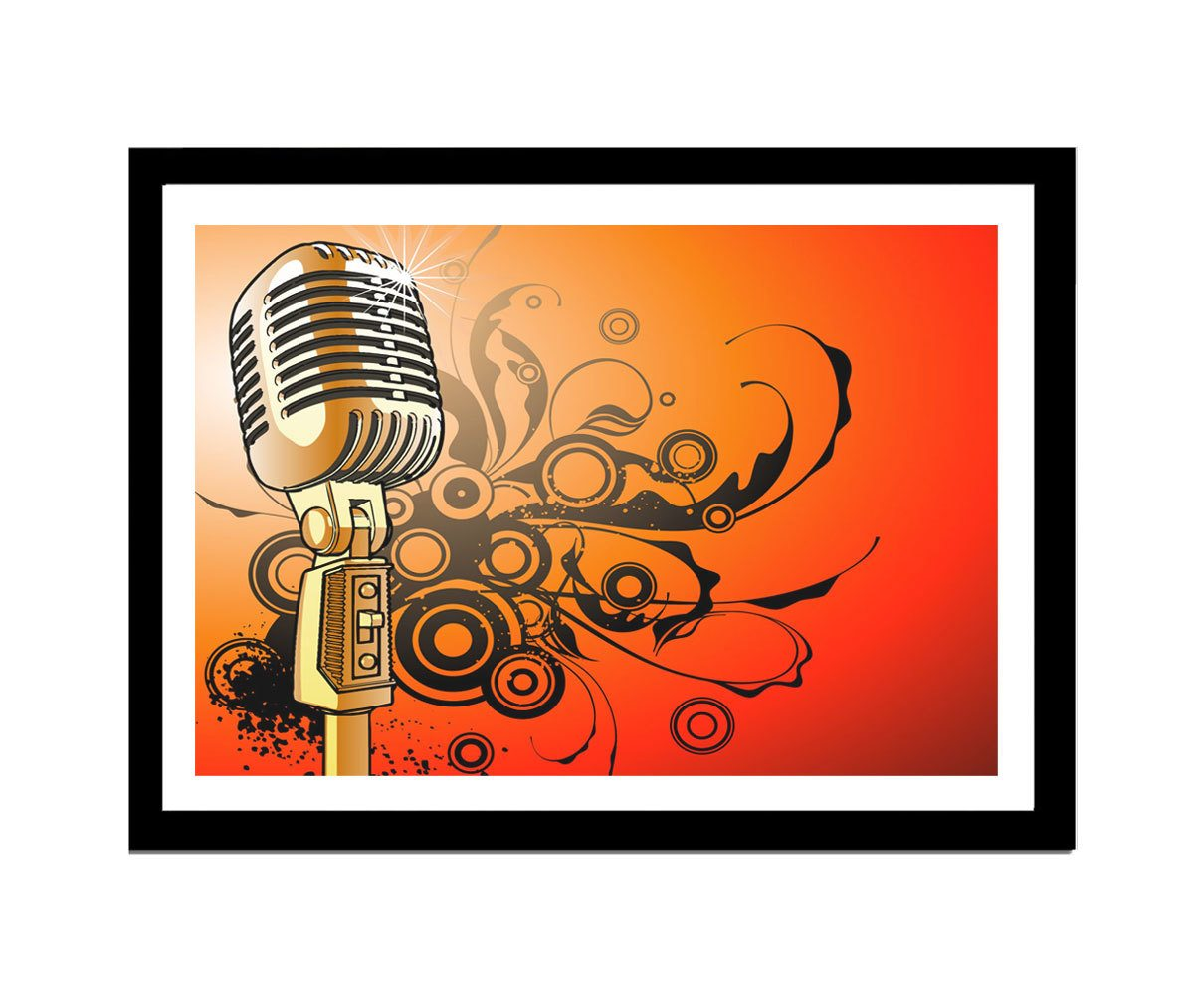 Quadro MDF microfone 33x25cm Moldura Preto