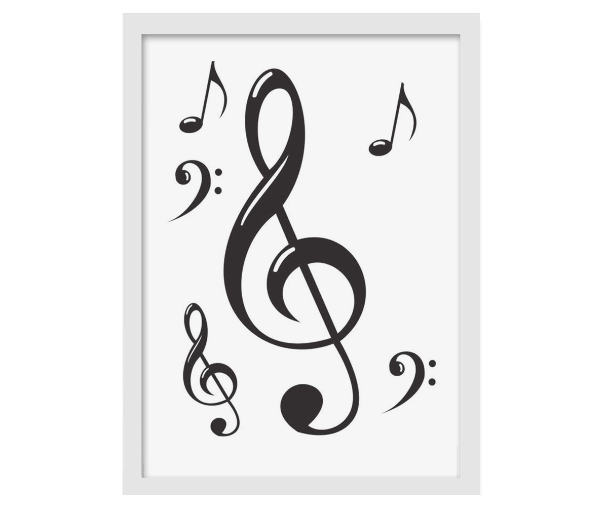 Quadro MDF notas musicais 33x25cm Moldura branca